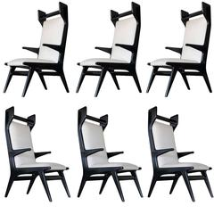 Set of Six 1960s Italian Sculptural Dining Chairs