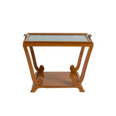 Jules Leleu, Art Deco, Two-Tiered Side Table with Removable Tray, France