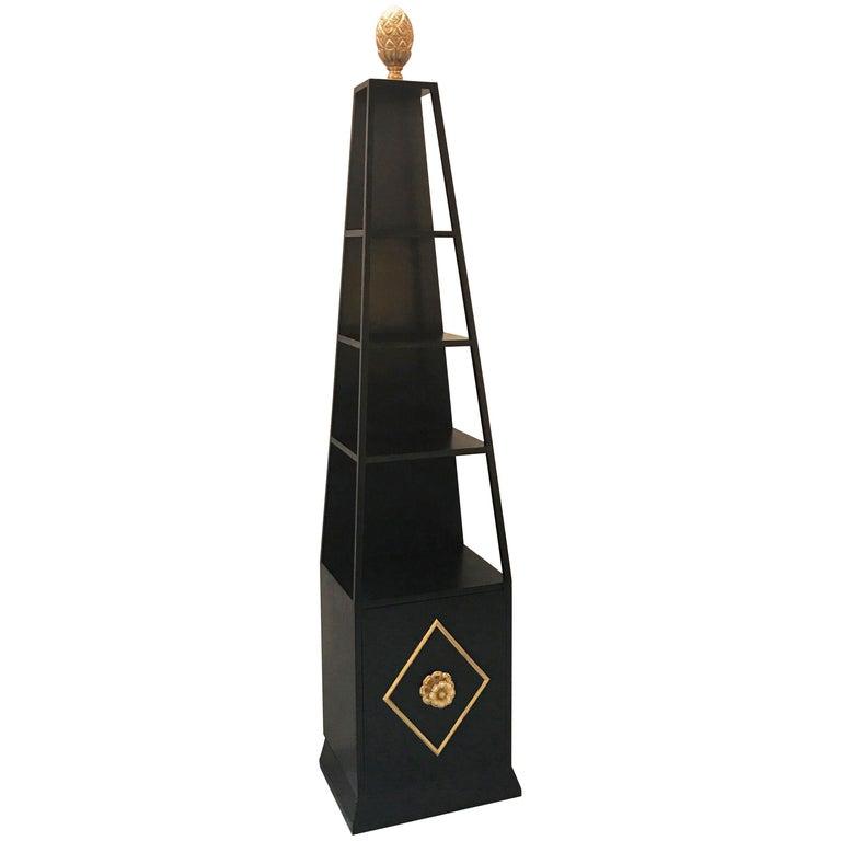 Hollywood Regency Obelisk Form Étagère