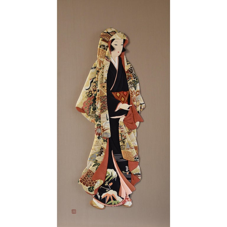 Japanese Traditional silk and brocade Handcrafted Decorative Art, circa 2000