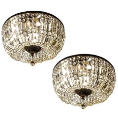 Pair of Spectacular Flush Mount Crystal and Bronze Basket Chandeliers