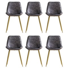 Set of Six Leather and Gold Metal Dinning Chairs Midcentury Style