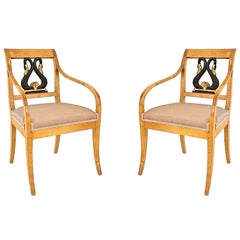 Pair of 19th c. Swedish Biedermeier Open Armchairs