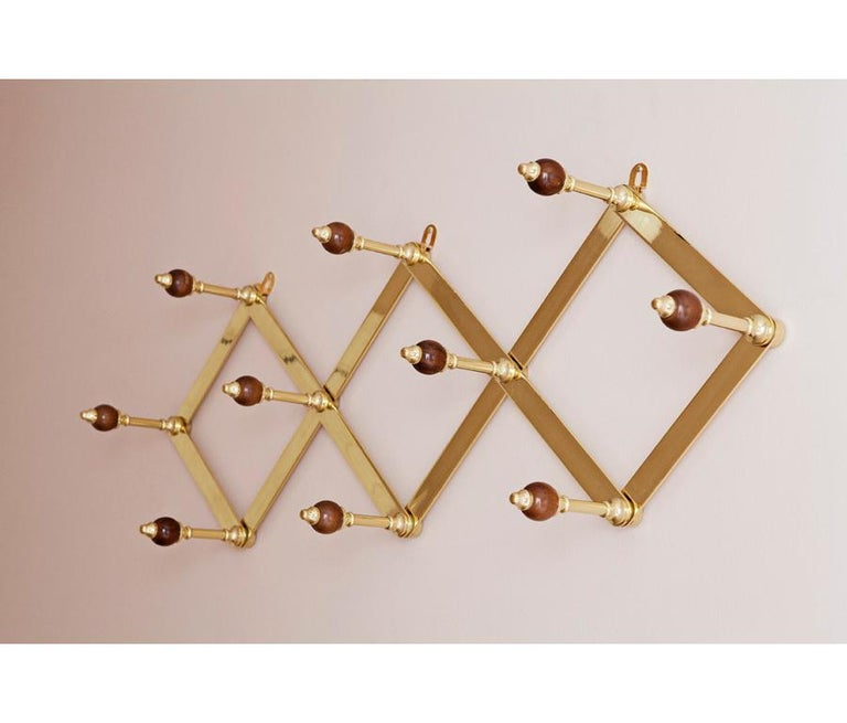 Italian Azucena Coat Hanger in Brass and Walnut For Sale