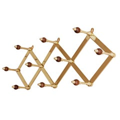 Azucena Coat Hanger in Brass and Walnut