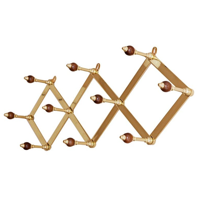 Azucena Coat Hanger in Brass and Walnut For Sale