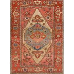 Antique Rust and Teal Persian Serapi Carpet