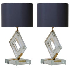 Pair of Huge Clear Murano Glass and Brass Table Lamps