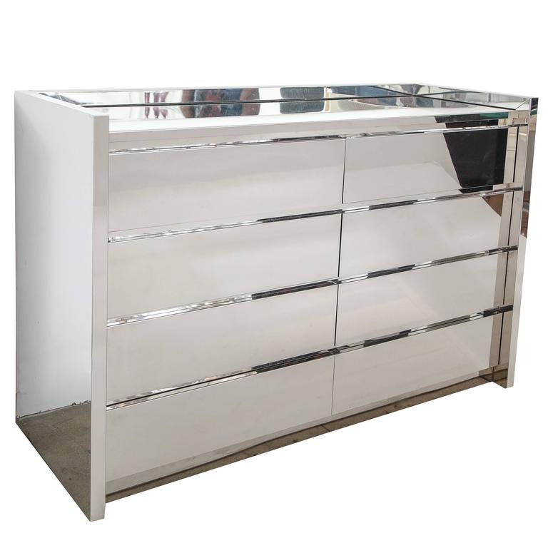 Karl Springer Chest Of Drawers Dresser Stainless Steel Mirror Top USA 1980s  For Sale