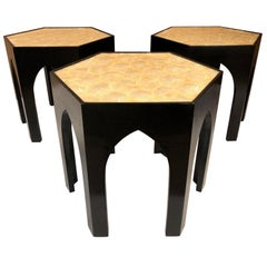 Three Vintage Capiz Shell Top Side Tables
