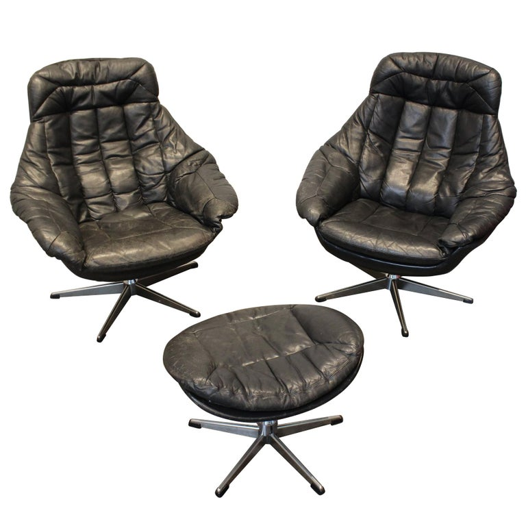Pair of 1970s Danish Leather Lounge Chairs and Ottoman by H.W. Klein for Bramin