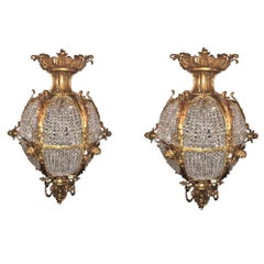 Pair of Palatial Doré Bronze Circular Crystal Beaded Ball Chandeliers
