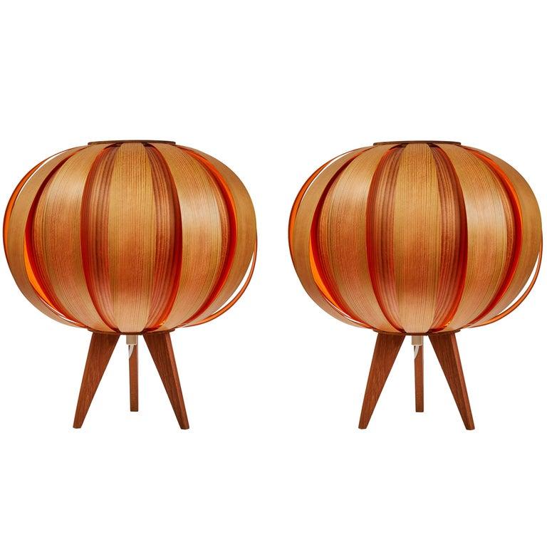 Pair of 1960s Hans-Agne Jakobsson Wood Table Lamps for AB Ellysett For Sale