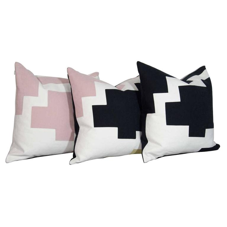 Architectural Italian Linen Throw Pillows by Arguello Casa For Sale
