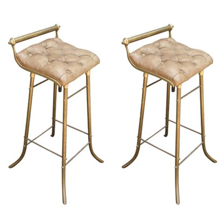 Pair Of 1950s French Leather And Brass Bar Stools For Sale