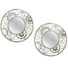 Pair of French Deco Silvered Mirrors