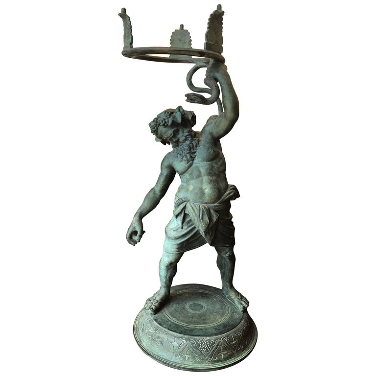 19th Century Grand Tour Patinated Bronze Silenus Lamp