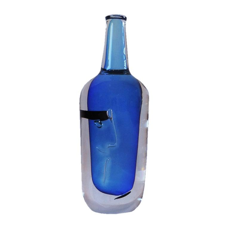 Other Göran Wärff Solid Crystal Face Bottle for Kosta Boda For Sale
