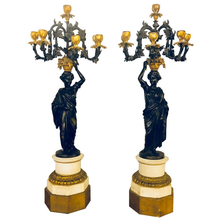 Pair of Neoclassical Style Bronze Six-Arm Figural Candelabra