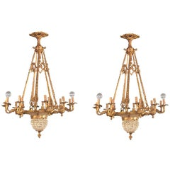 Pair of Crystal Beaded and Dore Bronze Louis XVI Style Chandeliers