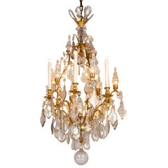 French 20th Century Crystal Ormolu Thirteen-light and Spires Chandelier 1900