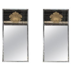 Pair of Etched Glass Hollywood Regency Custom Gilt Shell Form Designed Mirrors