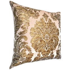 Contemporary Cut Velvet and Metallic Leather Damask Down Filled Pillow