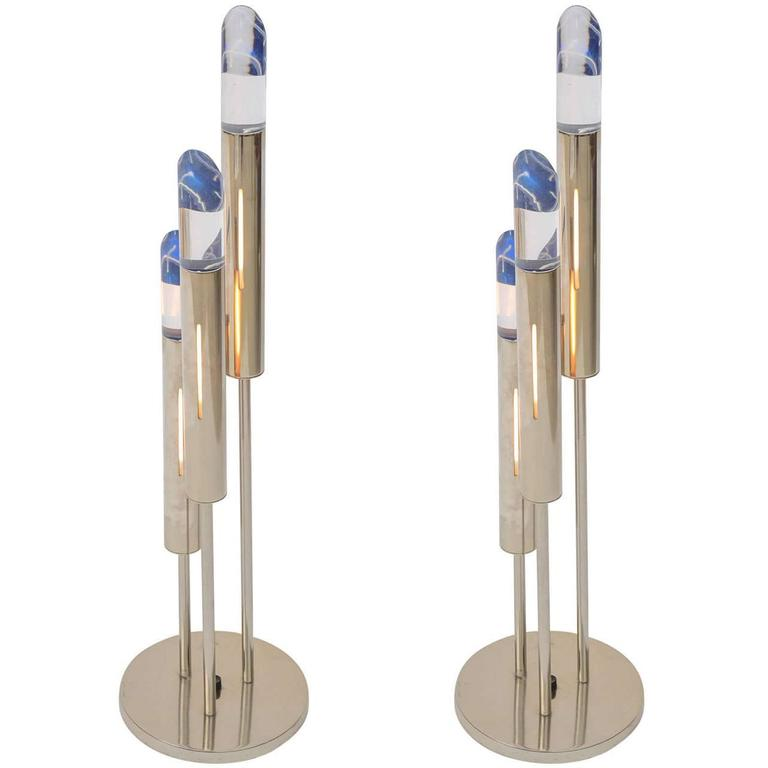 Pair of Italian Modern Polished Chrome and Lucite Table Lamps For Sale