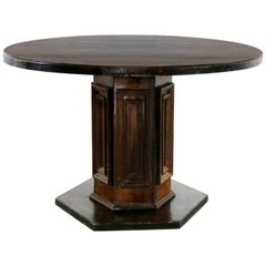 Spanish Revival Style Round Dining Table Single Pedestal Artes de Mexico
