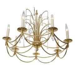"Midcentury Polished Bronze Swedish ""Waterfall"" Chandelier"
