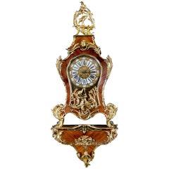 Cartel Clock with Animals 19th Century Made Ormolu Bronze and Kingwood Veneer
