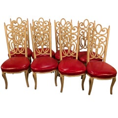 Set of Eight Hollywood Regency Style Louis Pistono Distressed Dining Chairs