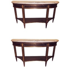 Pair Of Mahogany Marble Top Demilune Jansen Style Consoles Or Sofa Tables