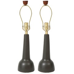 Gordon Martz Brown Ceramic Lamps