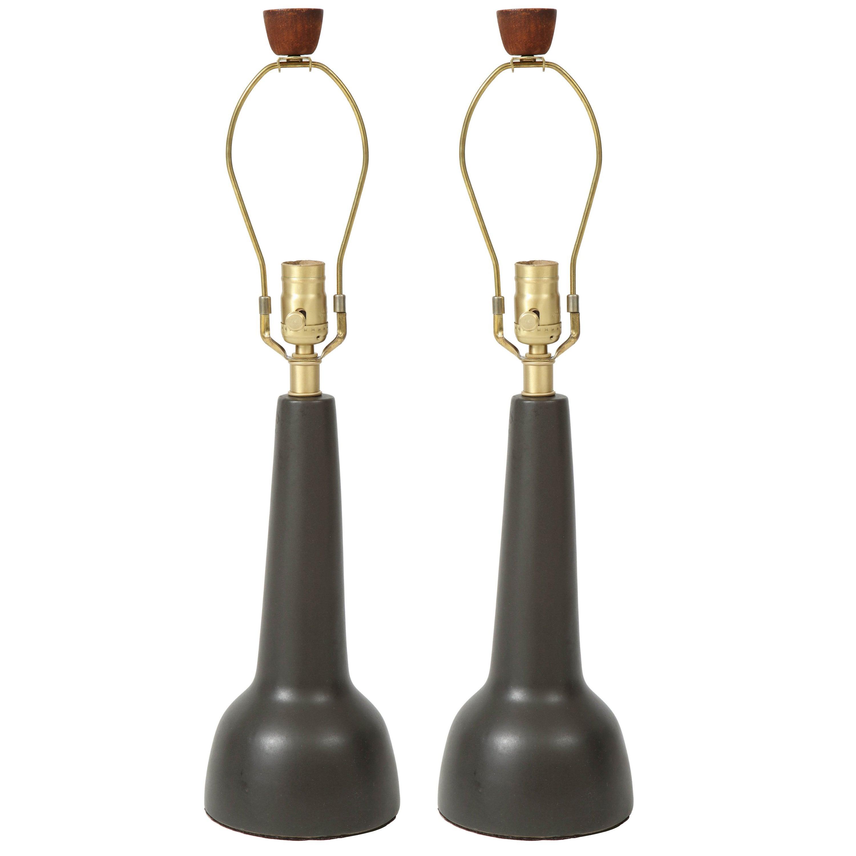Gordon Martz Brown Ceramic Lamps