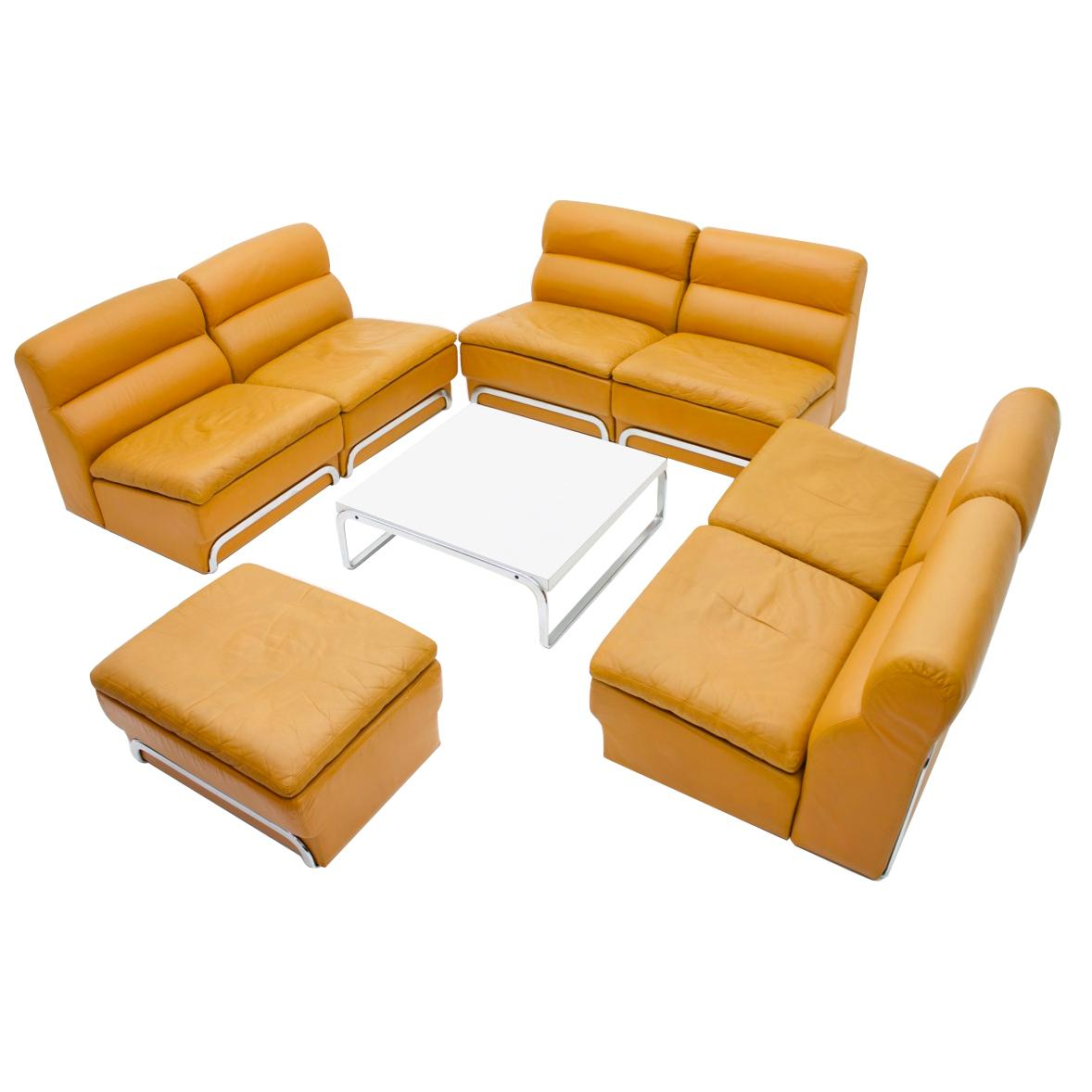 Modular Seating Group U0026 Coffee Table Leather Sofa By Horst Brüning For Kill  1970
