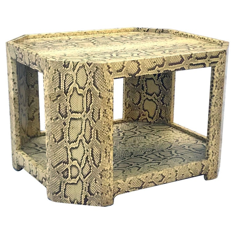 Exceptional 1970s Karl Springer Python Coveted Cocktail Table For Sale