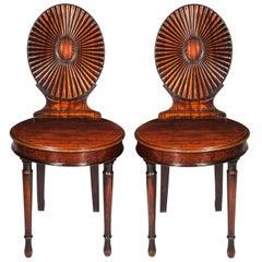Pair of 18th Century Robert Adam Neoclassical Hall Chairs