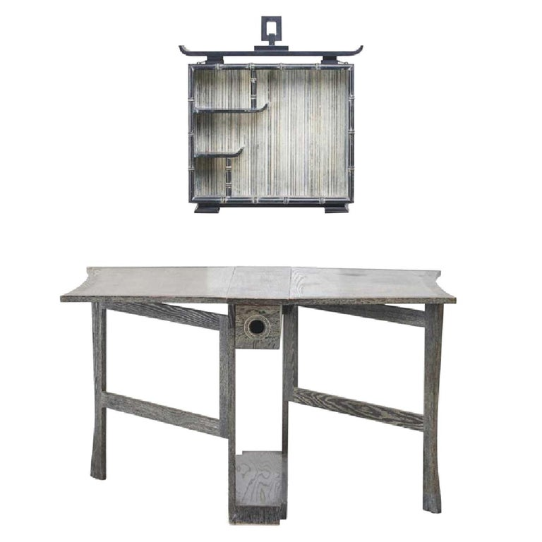 James Mont Design Signed Gate Leg Table and Pagoda Wall Shelf For Sale
