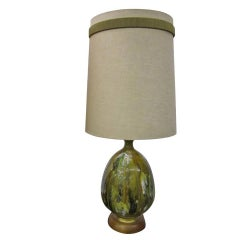 Awesome Huge Green Thick Drip Glaze Lamp, Mid-Century Modern
