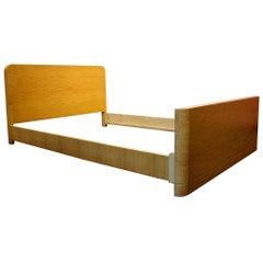 Minimalist Art Deco Mid-Century Modern Maple Wood Full Size Bed Frame