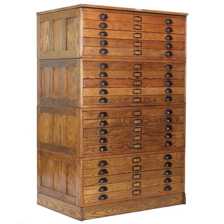 Vintage Hamilton Wooden Flat File Storage Cabinet