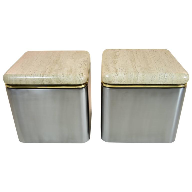 Pair of Custom Steel and Travertine Marble Tables