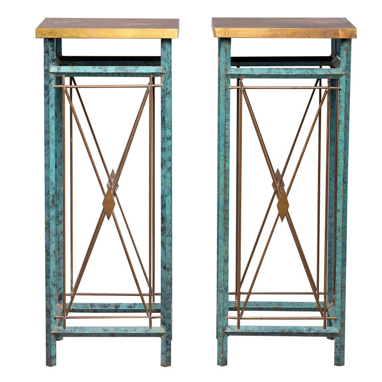 Pair of Neoclassical Style Verde Green Metal Statue Stands