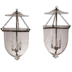 Pair of 19th Century Bell Jar Lanterns with Floral Etching