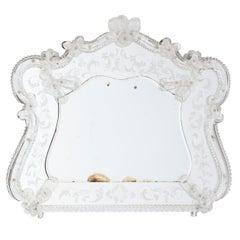 Italian Venetian Antique Mirror in Blown Murano Glass, Transparent Flowers 1960s