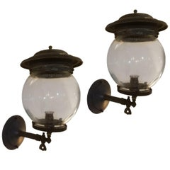 Pair of 19th Century Converted Wall Mount Gas Lamps