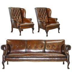 Restored Deep Brown Leather Chesterfield Suite Pair of Wingback Armchairs & Sofa