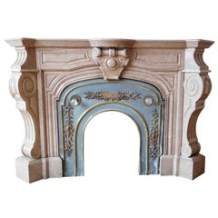 Antique, marble fireplace, Louis Philippe