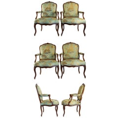 Stamped by Louis Delanois, Set of Six Louis XV Period Large Armchairs circa 1765